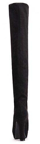 IDIFU Womens Fashion Stretchy Chunky Platform Over Knee High Boots Black KaSRWbE