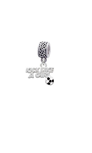 Silvertone Kick Like a Girl with Enamel Soccer Ball - Celtic Knot Charm Bead - Kicker Starter