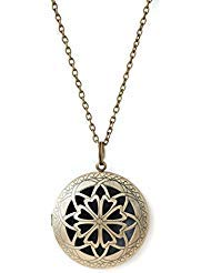 The Oil Collection Antique Bronze Large Pendant Diffuser Necklace Aromatherapy