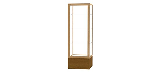 Waddell 4024CB-GD-AK Keepsake 24 x 72 x 24 in. Autumn Oak Floor Display Case with Veneer Base44; Clear Back - Champagne Gold