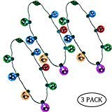 Biggerhigh 3 Pack Christmas LED Disco Necklace Light Up Holiday Accessories Party Favors 7 LED Disco Lights