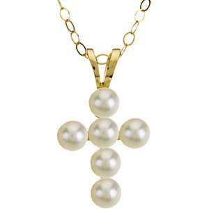 Amazon childrens freshwater cultured akoya pearl cross 14k amazon childrens freshwater cultured akoya pearl cross 14k yellow gold necklace 30mm 15 jewelry aloadofball Gallery