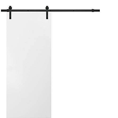 Sliding Barn White Door 28 x 80 | Planum 0010 White Silk | 6.6FT Rail Hangers Stops Hardware Set | Modern Solid Panel Interior Door