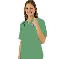 Women's Scrub Set - Medical Scrub Top and Pant, Surgical Green, -