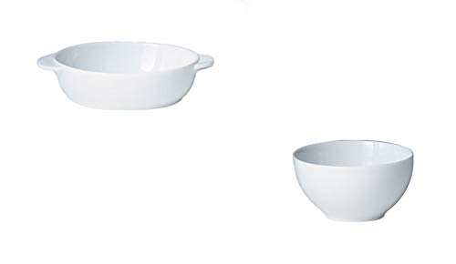 Denby White Small Oval Dish and Rice Bowl, Set of 8