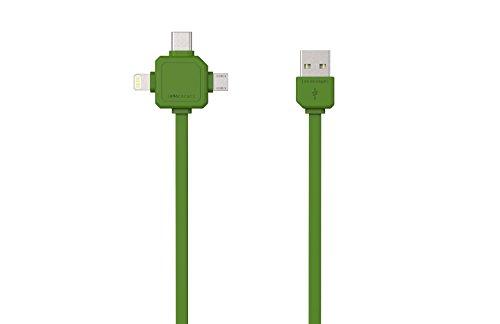 Allocacoc Cable USB 3 en 1 (Micro USB, USB-C, Lightning) de 8 m de Largo para Evitar enredos, Perfecto para iPhone, iPad,...