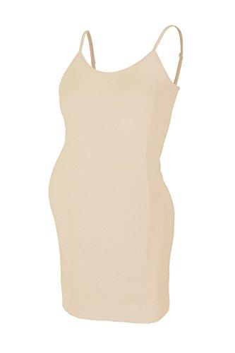 Beachcoco Women's Maternity Comfortable Seamless Camisole Slip Dress (One Size Regular (S-L), Nude - Slip Half Maternity