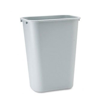 Rubbermaid Commercial 295700GY Deskside Plastic Wastebasket, Rectangular, 10 1/4 gal, Gray