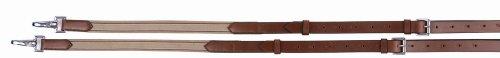 Leather Side Reins - Henri de Rivel Side REINS - Leather with Elastic Insert, Havana, N/A