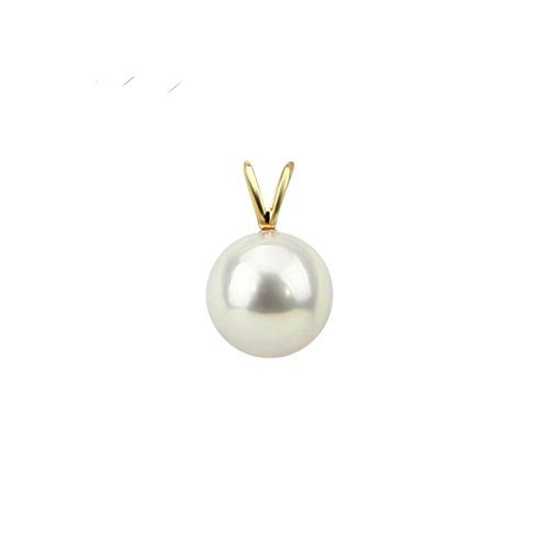 Akwaya 14k Yellow Gold 9-10mm High Luster White Round Freshwater Cultured Pearl Pendant only, AAA Quality