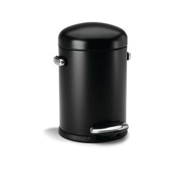 simplehuman Round Retro Step Trash Can, Black Steel, 4.5 L / 1.2 Gal (Step Trash Can Black compare prices)
