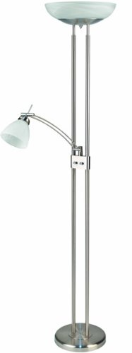 (Lite Source LS-8515PS/CLD Stratford Torchiere/Reading Lamp, Polished Steel with Cloud Glass)