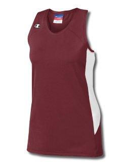 Mester Dobbel Dry® Strekning Racerback Womens Jersey # L542 Sgma Rødbrun / Hvit