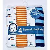 Gerber Newborn Baby Boy Assorted Flannel Receiving Blanket, 4-Pack