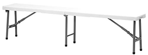 Amazon Com Ontario Furniture White Plastic Folding Portable Bench