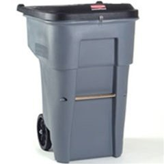 Rubbermaid 9W1088GY Brute Confidential Document Roll-Out Container, Square, Poly, 65gal, Gray