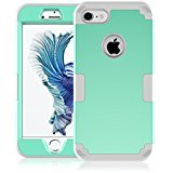 Two Hybrid Black Bar (iPhone 7 Case, Speedup Hybrid Heavy Duty Shockproof Full-Body Protective Cover Case 3-Piece High Impact Hybrid Defender Case for Apple iPhone 7 (2016 Released) (Mint Green + Grey))