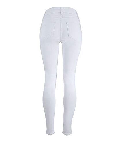 Alta Accogliente A Libero Moda Donna Yujeet Jeans Tempo Elasticità Vita Slim Stretto Bianca Dritto qHFwcz1