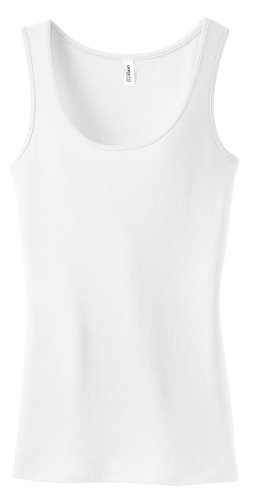 District Threads DT235 Juniors Perfect Fit 1x1 Tank - Bright White - S