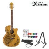 - GoDpsMusic Luna HEN-02-CDR Guitars Henna Oasis Cedar Acoustic-Electric Guitar with Guitar Stand, Guitar Strap and Pick Sampler