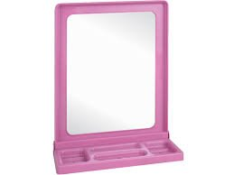 chalers Plastic Frame Square Mirror with Shelf