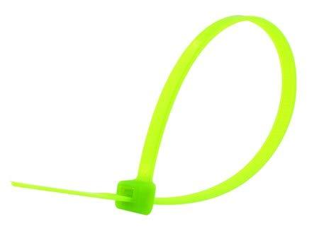 8 Inch Fluorescent Green Standard Nylon Zip Tie - 100 Pack