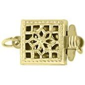 Bead Master 14kt Gold Filled 9MM Square Filigree Pearl 1 Strand Box Clasp -2 pcs