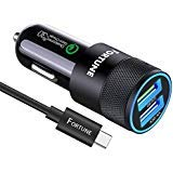 Samsung Galaxy S8 Car Charger, Samsung Car Charger Fast Charging with Quick Charge 3.0 & 5V 2.4A Ports & 6 Ft USB C Cord Compatible for Samsung Galaxy S9 Note ()