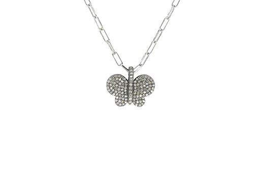 Diamond Butterfly Charm - Sterling Silver, Diamond, Butterfly Charm
