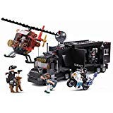 SlubanKids SWAT Police Mobile Command Center, Helicopter, Motorcycle, K9 Dog, Building Blocks 540 Pcs Set Building Toy Police Vehicle | Indoor Games for Kids