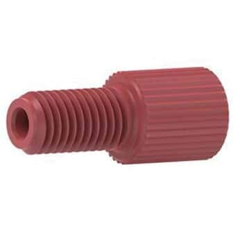 - Idex P-202X Flangeless Male Nut, Standard Knurl, Red Acetal, 1/16