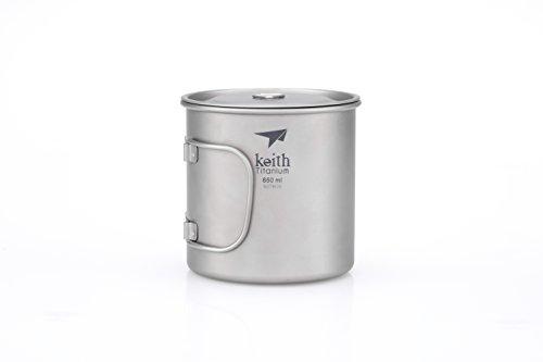 Keith Titanium Ti3208 Single-Wall Mug with Folding Handle and Lid - 22 fl oz