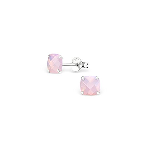 Price comparison product image 925 Sterling Silver Square Opal and Semi Precious Ear Studs