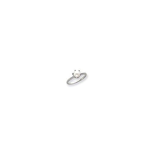Mens Ring Mounting (14k White Gold 5.5mm Pearl Ring Mounting)