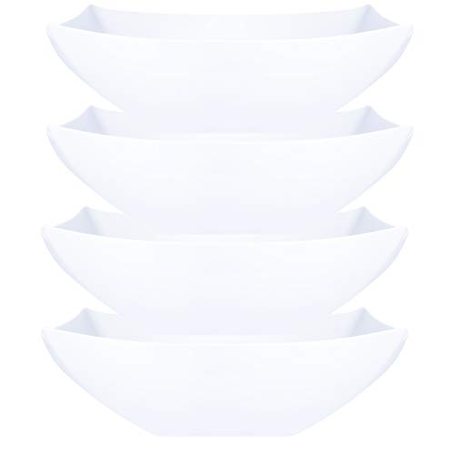 - Plasticpro Disposable 128 ounce Square Serving Bowls, Party Snack or Salad Bowl, Extra Large Plastic Elegant White Pack of 4