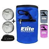 Elite Sportz Equipment Rock Climbing Chalk Bag and 2 x Chalk Balls - No Leak Drawstring Bag and Secure Zip Pocket, Blue