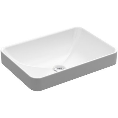KOHLER K-5373-0 Vox Rectangle Vessel Above-Counter Bathroom Sink, White by Kohler