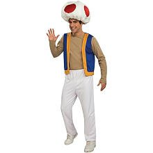 Toad Costumes For Adults (Super Mario Brothers Toad Halloween Costume - Adult Standard One Size)