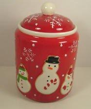 Hallmark 2011 COOKIE JAR Snowman Red Holiday Ceramic Cookie Jar (Hallmark Cookie Jars)