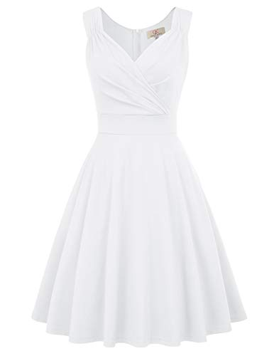 Women's 50s Style Vintage Cocktail Dress Knee Length Size S White CL698-7