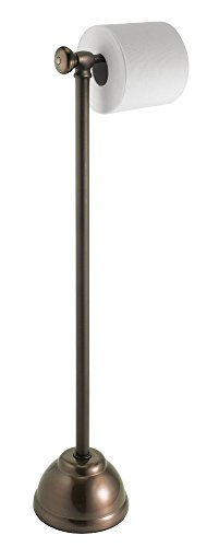 mDesign Metal Free Standing Toilet Paper Roll Holder Stand for Bathroom - Bronze -