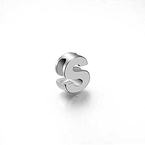 925 Sterling Silver Mini Letter Charm Pendant with Hidden Bail Block Initial S