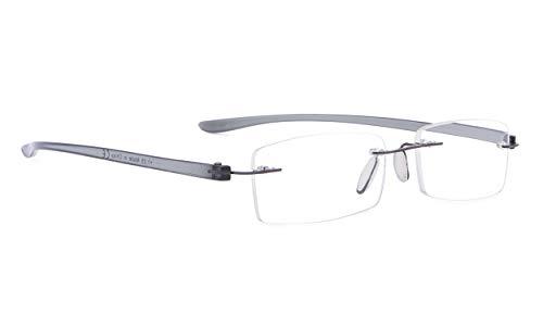 Rimless Reading Glasses Small Readers Men Women(Grey,+1.25)