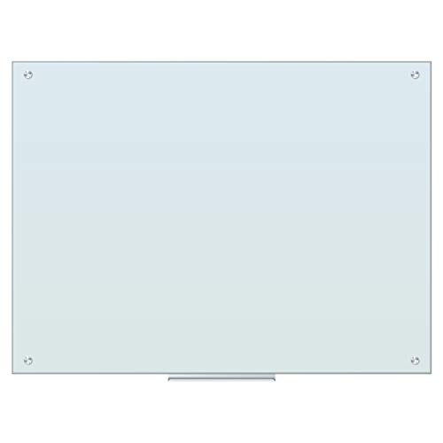 U Brands Magnetic Glass Dry Erase Board, Only for Use with HIGH Energy Magnets, 47 x 35 Inches, White Frosted Surface, Frameless ()