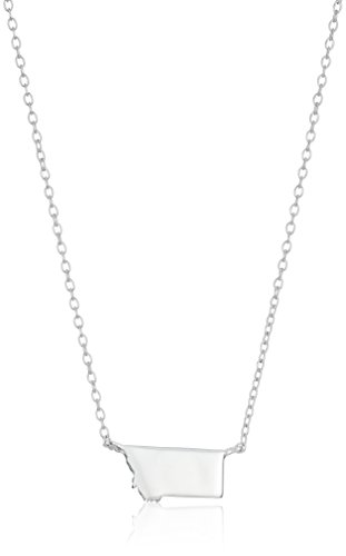 Sterling Silver Stationed Mini State Montana Pendant Necklace, 16