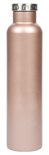 FIFTY/FIFTY Wine Growler Water Bottle, Narrow Mouth, Seven Fifty, 750ml/25 oz, Rose Gold