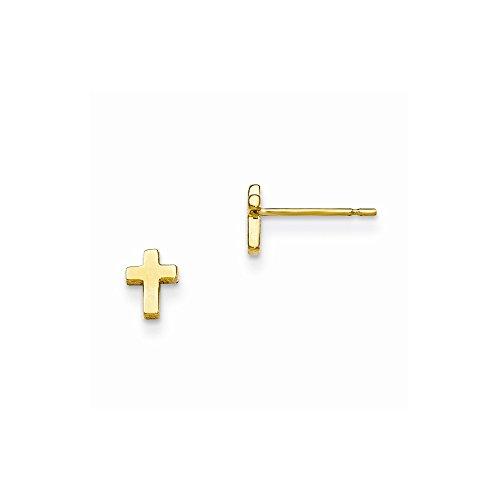 14k Yellow Gold Madi K Children's Cross Post Earrings