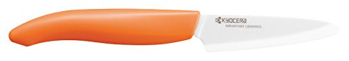 Kyocera Advanced Ceramic Revolution Series 3-inch Paring Knife, Orange Handle, White Blade (Gourmet Baskets Wholesale)