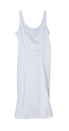 Little Things Mean A Lot Girls White Simple Princess Style Tea Length Nylon Slip with Adjustable Straps - ()