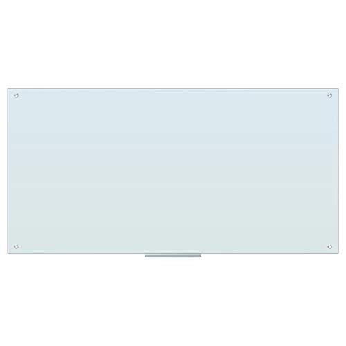 U Brands Magnetic Glass Dry Erase Board, Only for Use with HIGH Energy Magnets, 72 x 36 Inches, White Frosted Surface, Frameless ()